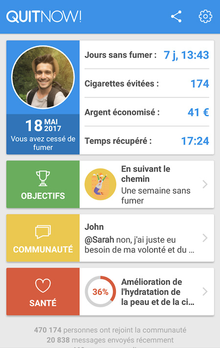 application pour arrêter de fumer